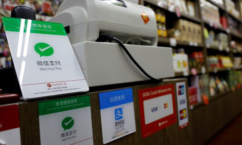 WeChat logo in front of the counter